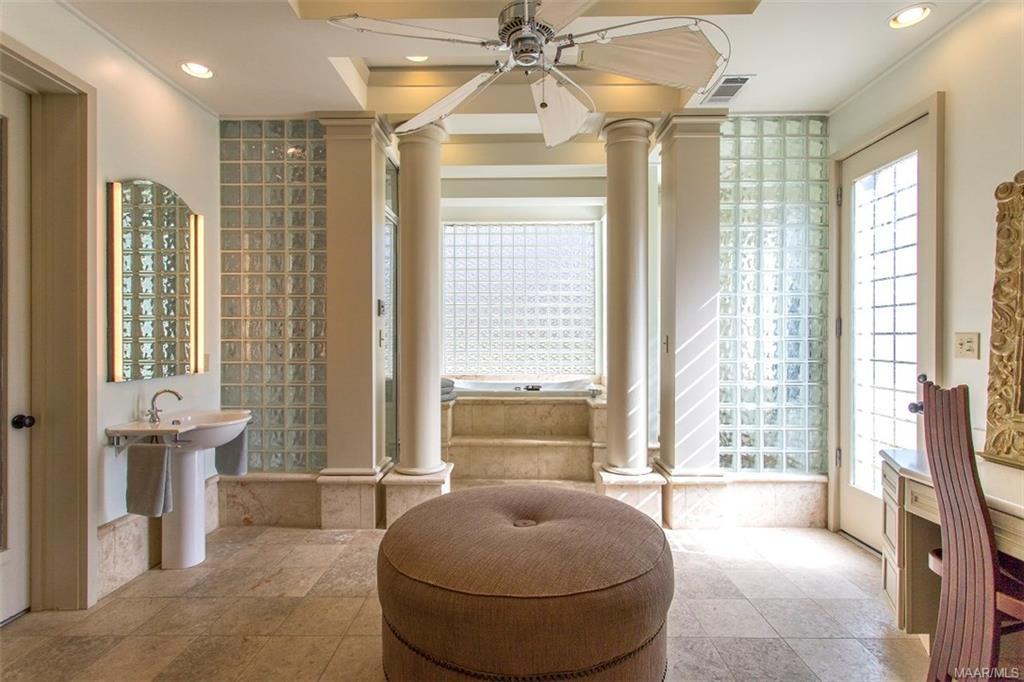 Master Bath with Limestone Floors, Vanity, Separat