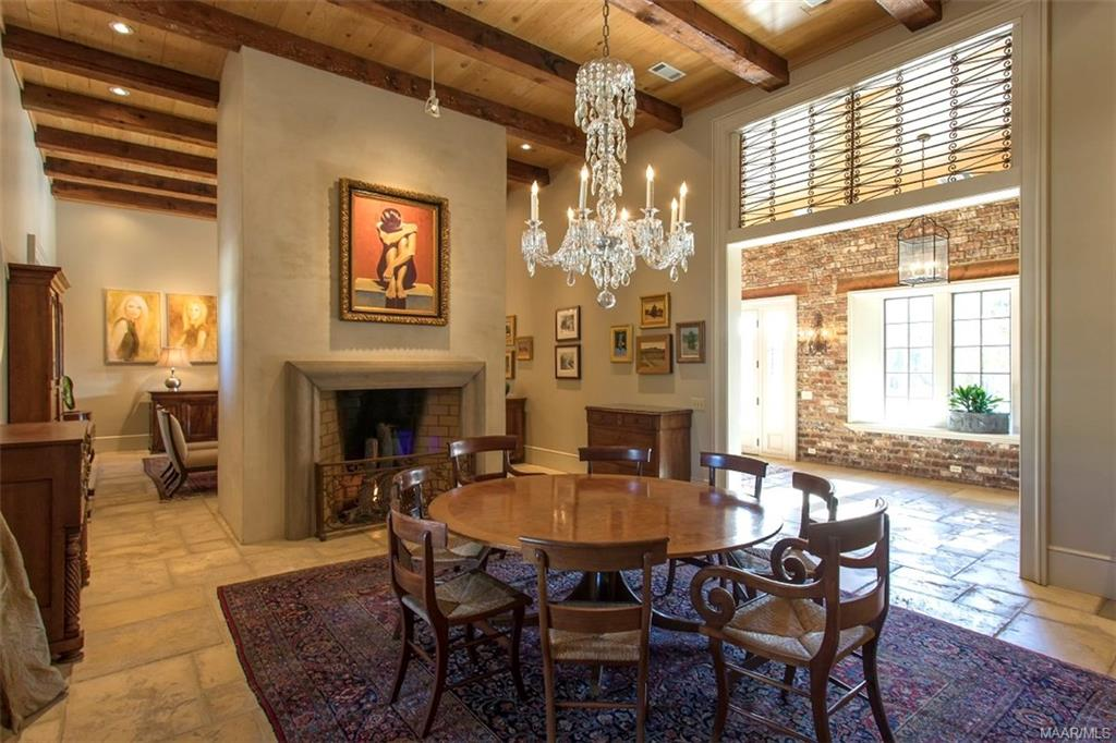 Dining Room with Rumford Fireplace with Gas Starte