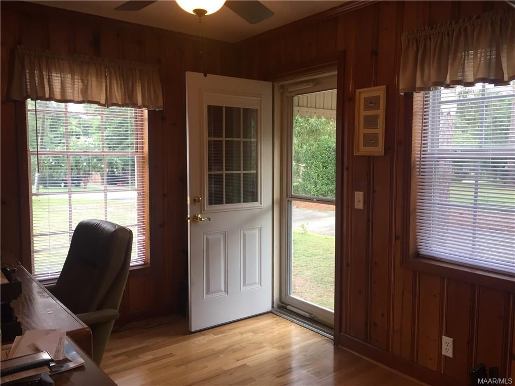 Home office with exterior door