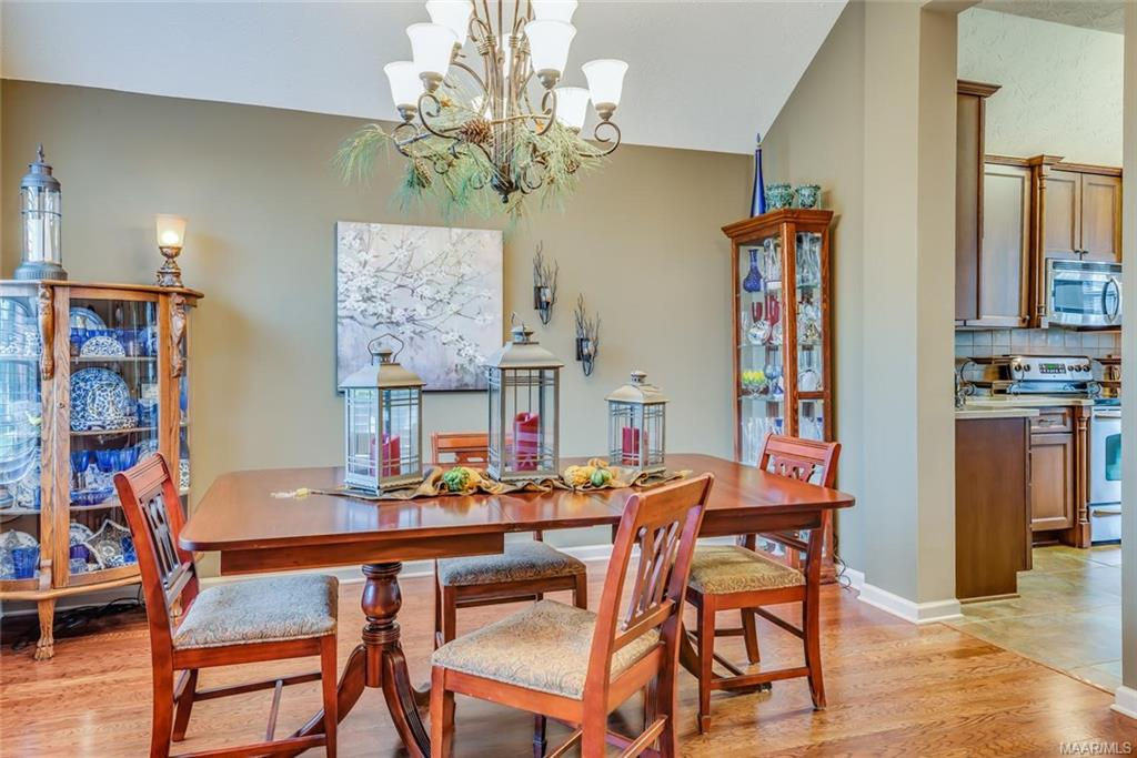 Dining room with beautiful wood floors!