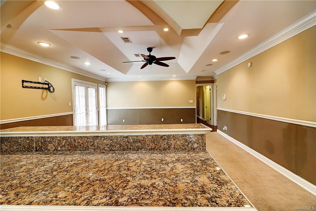 Kitchen granite bar open to huge great room