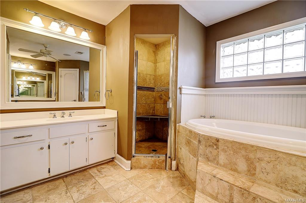 Double, separate vanities, separate shower and jet