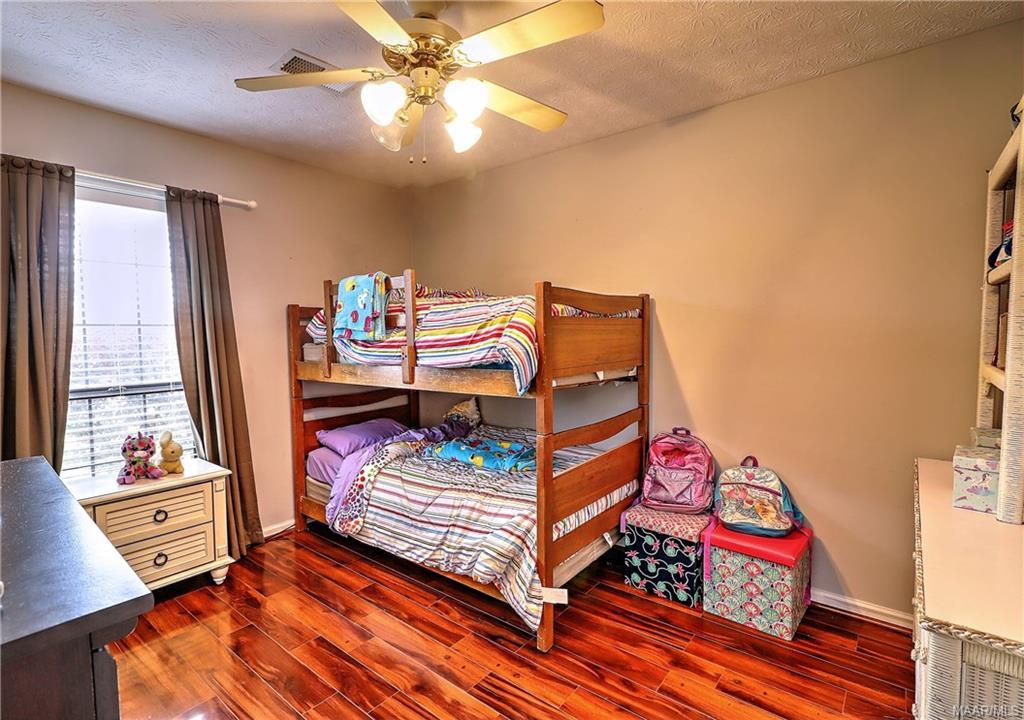 Guest bedroom with walk in closet.