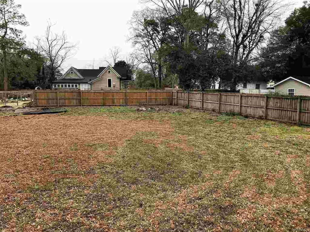 Partially fenced backyard