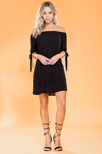 Junior Off-Shoulder Dress with Bowed Cuffs