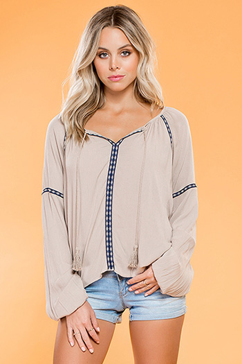 Junior Long Sleeve Embroidered Blouse