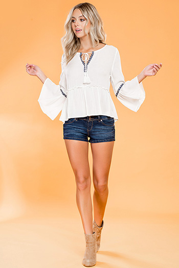Junior Americana Bell Sleeve Embroidered Top with Tassel
