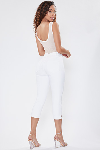 Junior Secrets High-Rise Denim Crop Capris with Side Slit