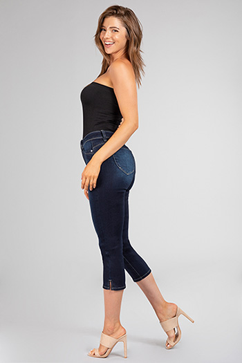 Junior Lux Lift Jade Distressed Denim Capri with Side Slit