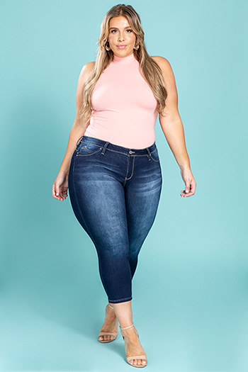 Junior Plus Size WannaBettaButt Basic Denim Ankle Jean