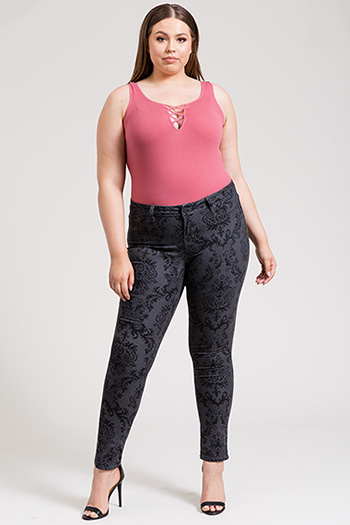 Junior Plus Size Printed Super Skinny Jegging