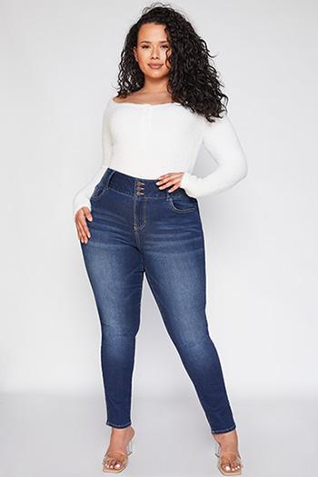 Junior Plus 3 Button High-Rise Skinny Jean