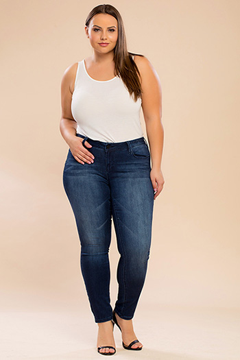 Junior Plus Size Luxe Denim Skinny Jeans with Embellished Pockets