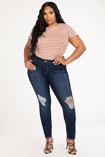 Junior Plus Size WannaBettaButt Mid-Rise Distressed Denim Skinny Jean