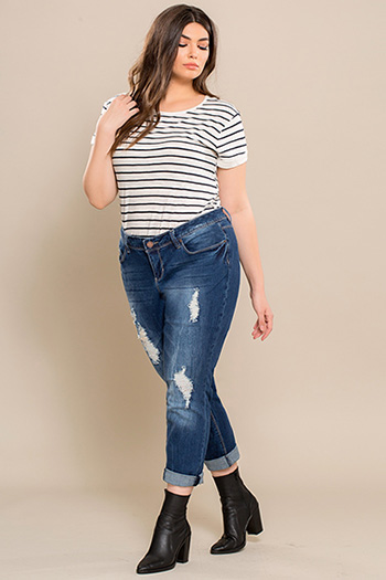 Junior Plus Size Cuffed Ankle Jeans