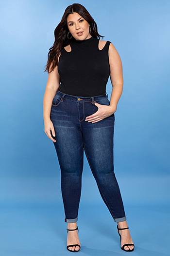 Junior Plus Size Hide Your Muffin Top High-Waist Denim Ankle Jean