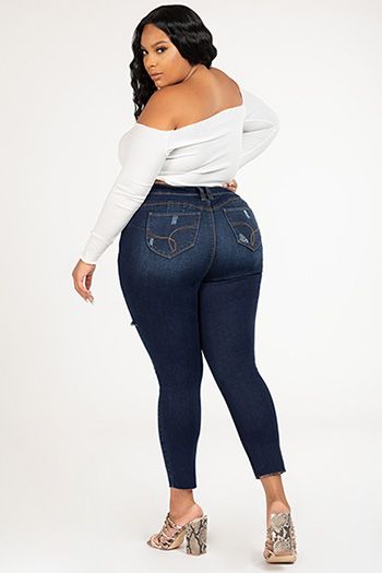 Junior Plus Size WannaBettaButt Foldover Destruct Skinny Jean