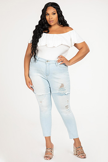 Junior Plus Size WannaBettaButt Foldover Destruct Skinny