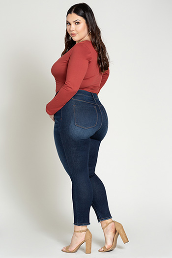 Junior Plus Size Hide Your Muffin Top Denim Ankle Jean