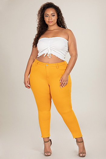 Junior Plus Size Hide Your Muffin Top Ankle Jeans with Fray Hem