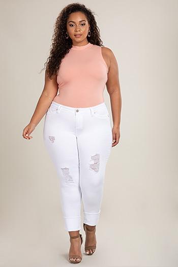 Junior Plus Size WannaBettaButt Mid-Rise Distressed Mega Cuff Skinny Jean