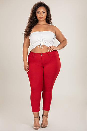 Junior Plus Size Hyperstretch 2-Button Cuffed Pants