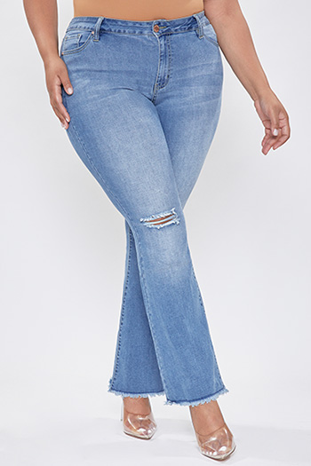 Junior Plus Size High-Rise Distressed Super Flare Jean