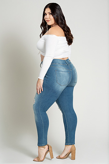 Junior Plus Size Hide Your Muffin Top 3-Button High-Rise Skinny Jean