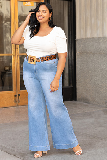 Junior Plus Size Love High-Rise Wide-Leg Stove Pipe Jeans