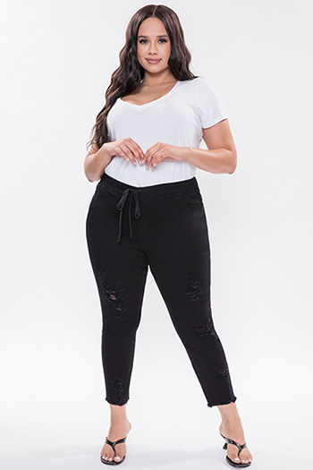 Junior Plus Size High-Rise Denim Ankle Jogger