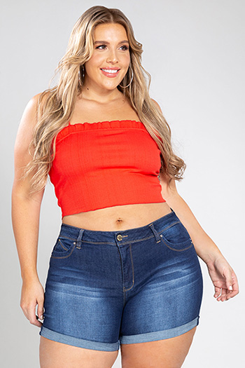 Junior Plus Size WannaBettaButt High-Rise Denim Cuffed Shorts