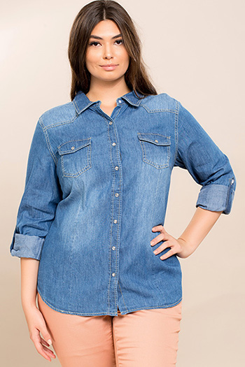 Junior Plus Chambray Long Sleeve Top