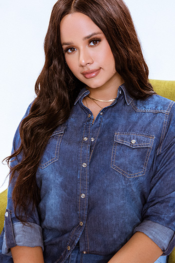 Junior Plus Size Chambray Long Sleeve Top