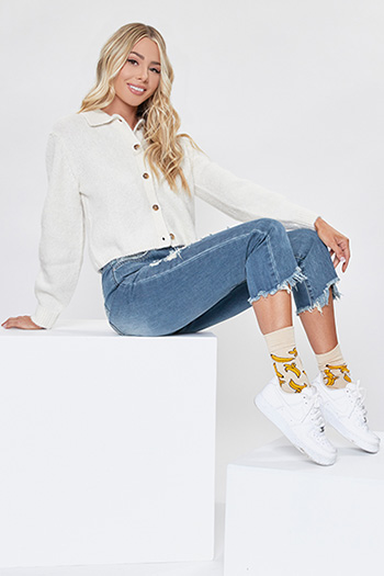 Junior Hybrid Dream High-Rise Distressed Ankle Jean with Fray Hem