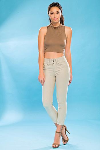 Junior WannaBettaButt Triple-Button Twill Skinny Jean