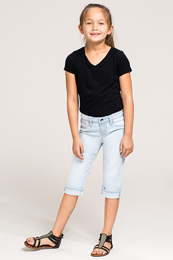 Kids Basic Cuffed Capri