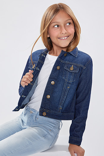 Girls Drop Shoulder Oversized Denim Jacket With Pockets