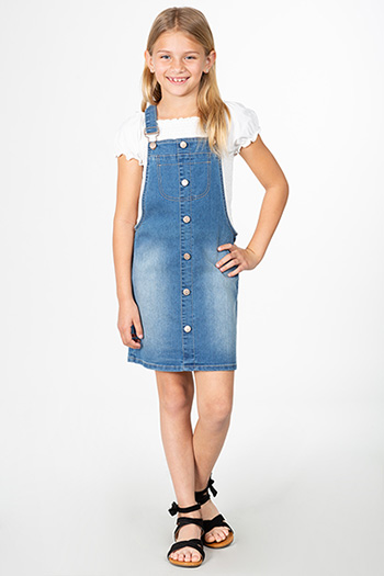 Girls Love Button Down Denim Overall Skirtall