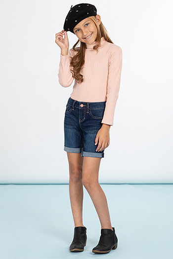 Girls Basic Cuffed Bermuda