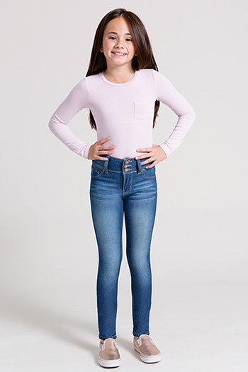 Kids High-Waist 3-Button Skinny Jegging