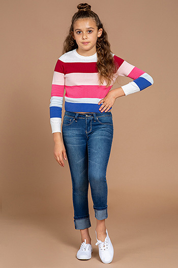 Girls Wide Cuff Denim Skinny Jean