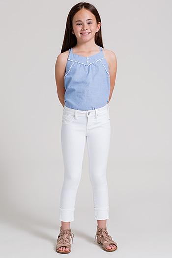 Girls Wide Cuff Denim Skinny Jean
