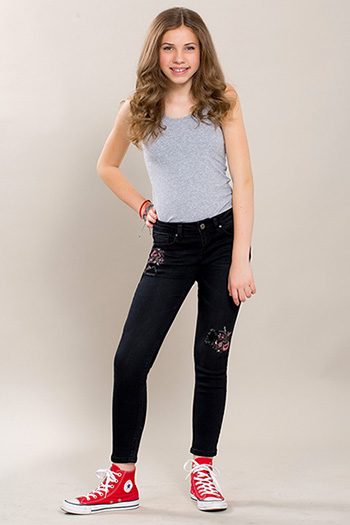Kids Floral Embroidery Skinny