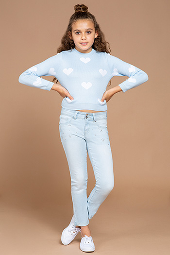Kids 2-Button Cuffed Ankle Jeans with Flower Studs