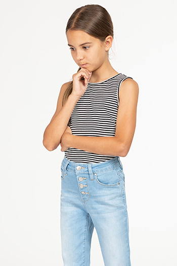 Kids High-Waisted Button-Fly Denim Ankle Jean with Rolled Cuffs