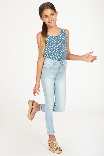 Girls High-Waisted Button-Fly Denim Ankle Jean with Rolled Cuffs