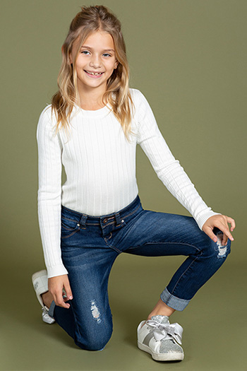Kids WannaBettaFit Rolled Cuff Ankle Jean