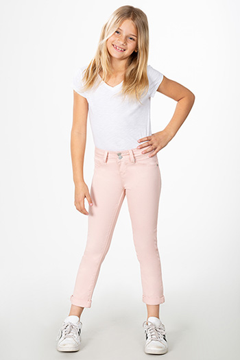 Girls 2-Button Double Rolled Cuff Ankle Jean
