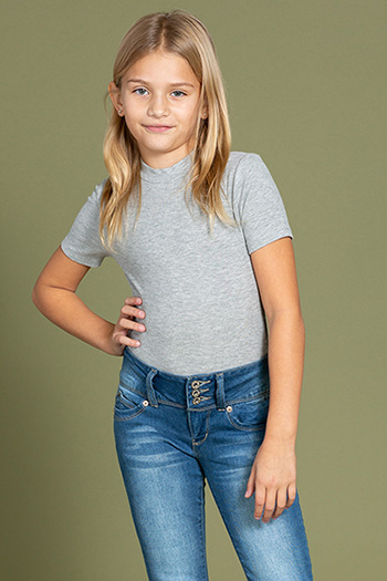 Kids WannaBettaFit 3-Button Roll Cuffed Distressed Skinny Jean