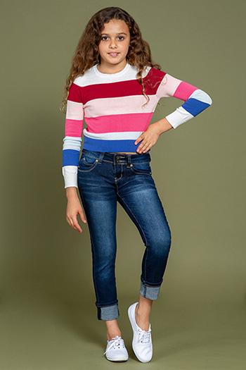 Kids WannaBettaFit 2-Button Wide Cuff Denim Skinny Jean